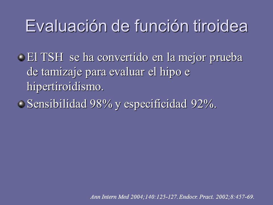 Evaluación de función tiroidea El TSH se ha convertido en la mejor prueba de tamizaje para evaluar el hipo e hipertiroidismo. Sensibilidad 98% y espec