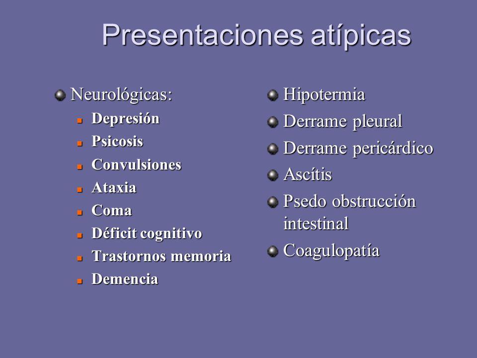 Presentaciones atípicas Neurológicas: Depresión Depresión Psicosis Psicosis Convulsiones Convulsiones Ataxia Ataxia Coma Coma Déficit cognitivo Défici