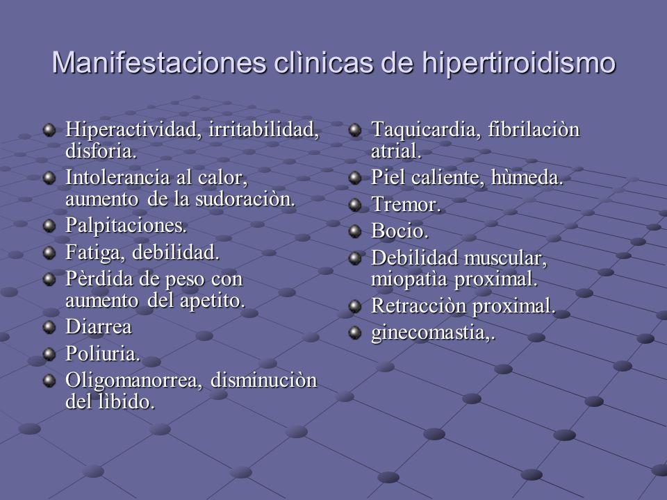 Manifestaciones clìnicas de hipertiroidismo Hiperactividad, irritabilidad, disforia. Intolerancia al calor, aumento de la sudoraciòn. Palpitaciones. F