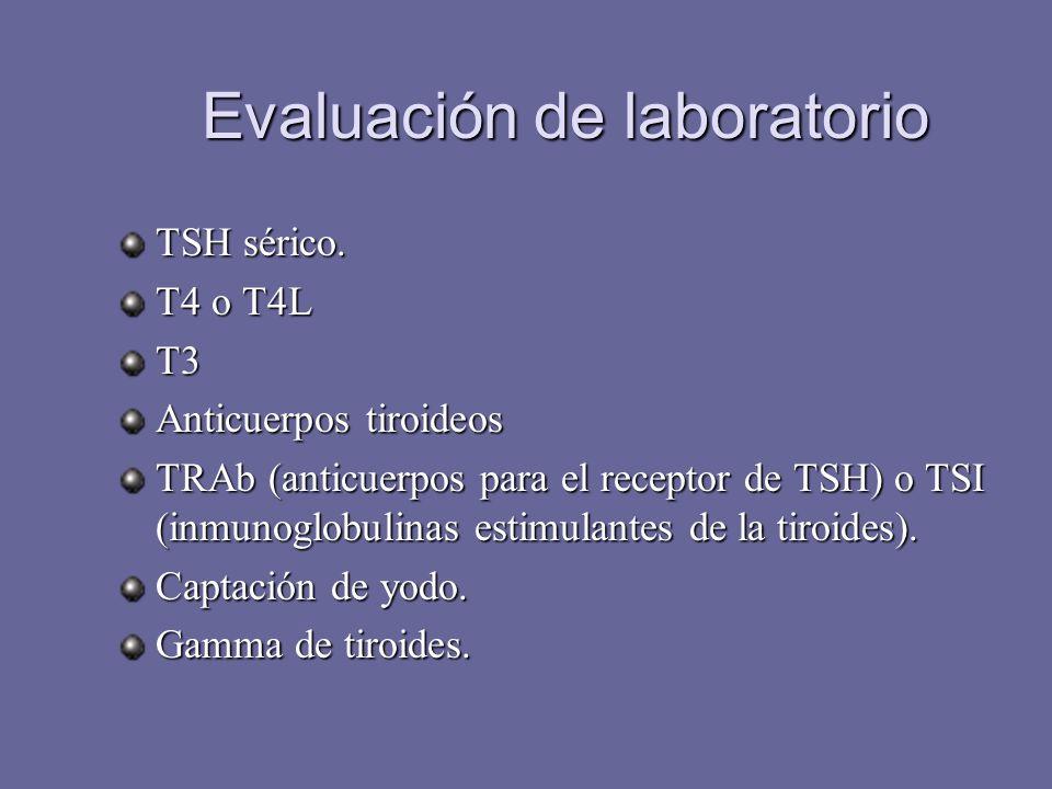 Evaluación de laboratorio TSH sérico. T4 o T4L T3 Anticuerpos tiroideos TRAb (anticuerpos para el receptor de TSH) o TSI (inmunoglobulinas estimulante