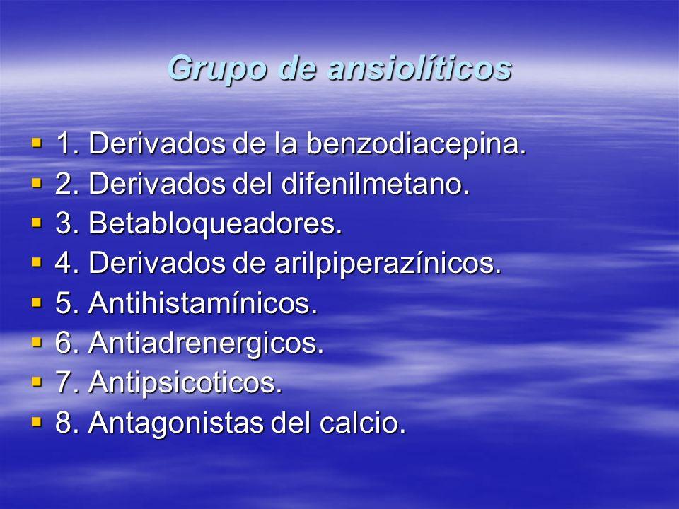 Grupo de ansiolíticos 1. Derivados de la benzodiacepina. 1. Derivados de la benzodiacepina. 2. Derivados del difenilmetano. 2. Derivados del difenilme