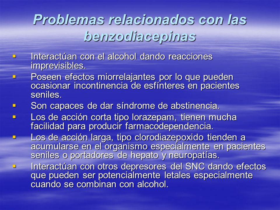 Problemas relacionados con las benzodiacepinas Interactúan con el alcohol dando reacciones imprevisibles. Interactúan con el alcohol dando reacciones