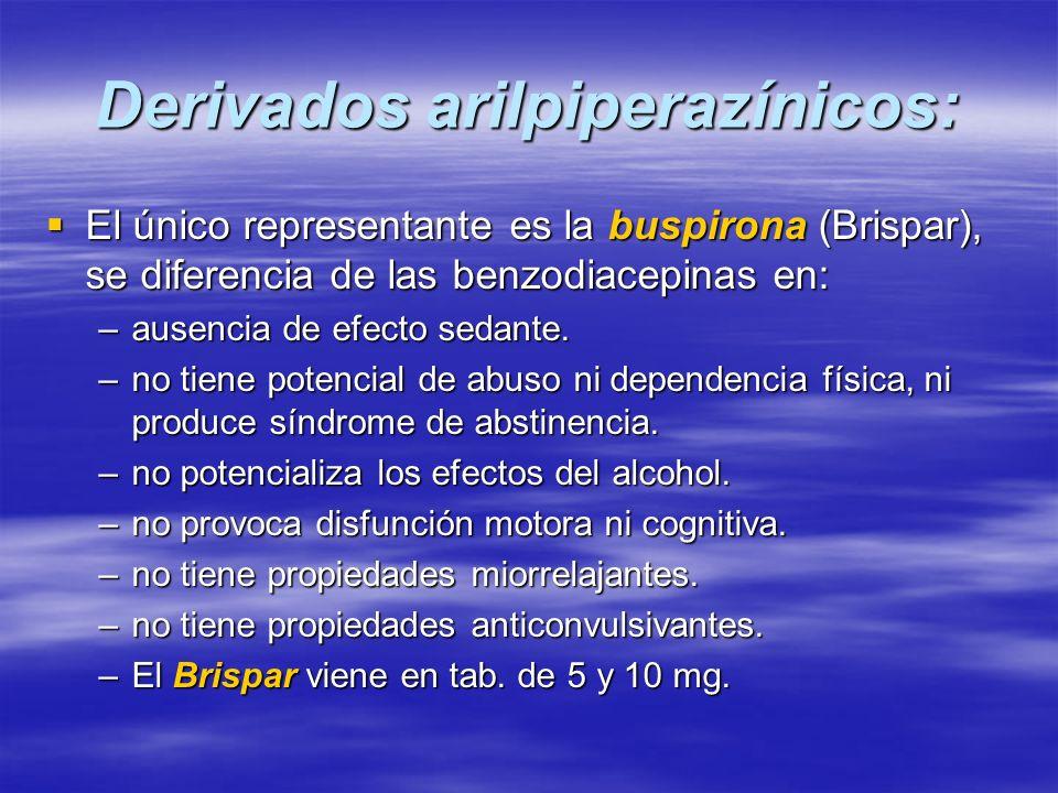 Derivados arilpiperazínicos: El único representante es la buspirona (Brispar), se diferencia de las benzodiacepinas en: El único representante es la b