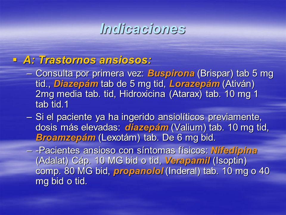 Indicaciones A: Trastornos ansiosos: A: Trastornos ansiosos: –Consulta por primera vez: Buspirona (Brispar) tab 5 mg tid., Diazepám tab de 5 mg tid, L