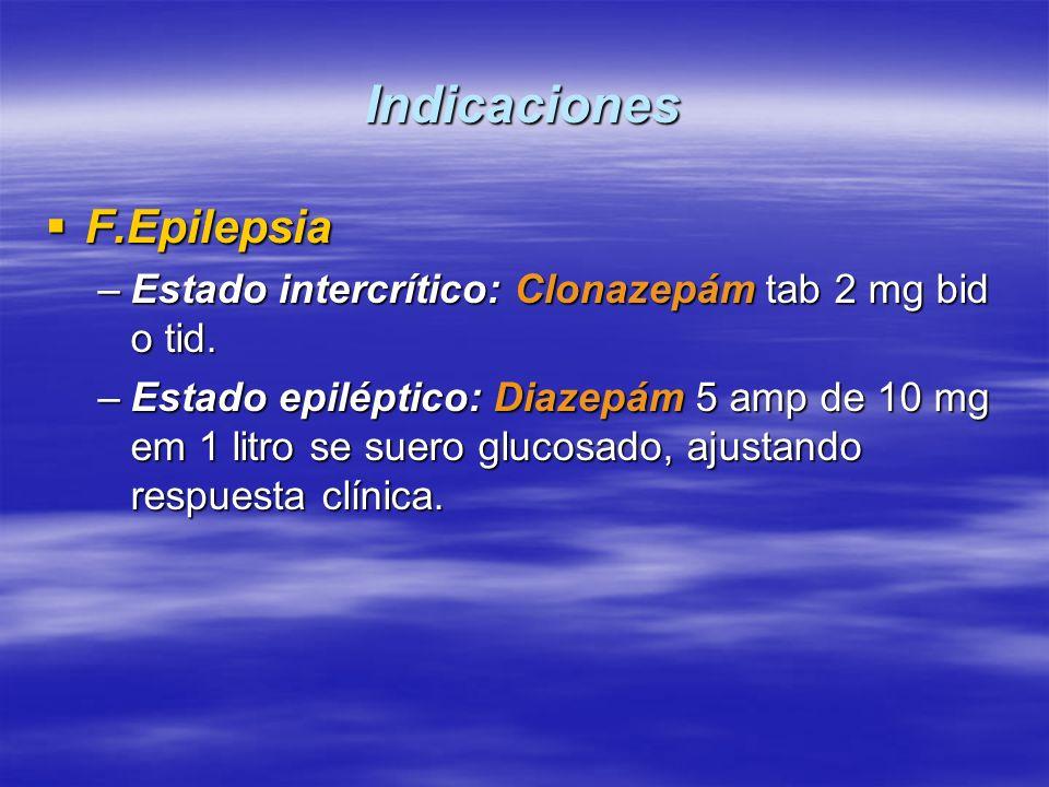 Indicaciones F.Epilepsia F.Epilepsia –Estado intercrítico: Clonazepám tab 2 mg bid o tid. –Estado epiléptico: Diazepám 5 amp de 10 mg em 1 litro se su