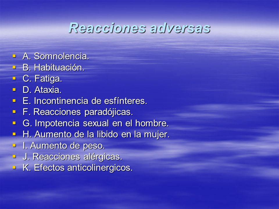 Reacciones adversas A. Somnolencia. A. Somnolencia. B. Habituación. B. Habituación. C. Fatiga. C. Fatiga. D. Ataxia. D. Ataxia. E. Incontinencia de es