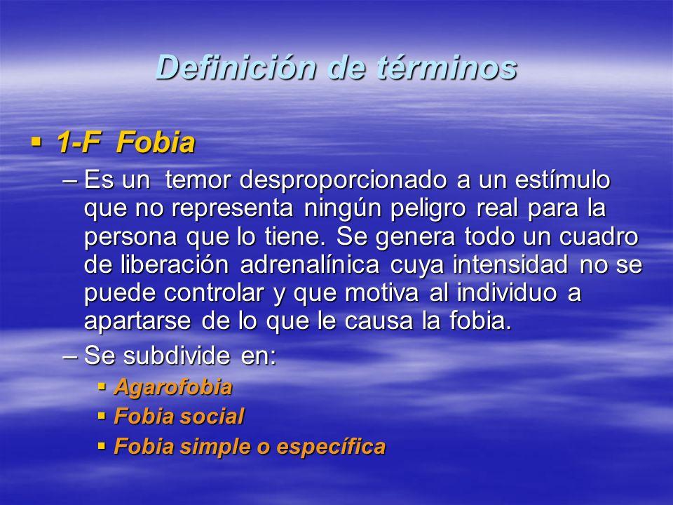 Definición de términos 1-F Fobia 1-F Fobia –Es un temor desproporcionado a un estímulo que no representa ningún peligro real para la persona que lo ti