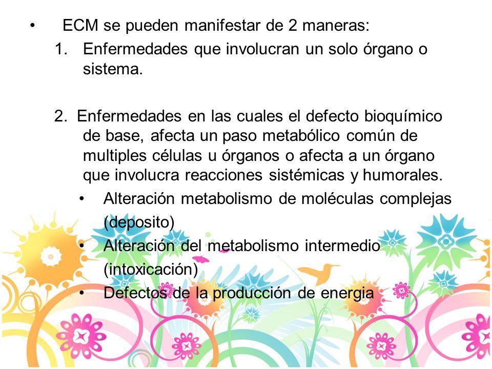 Hiperamonemia Amonio: –Normal RN < 110 umol/L –Enfermo RN hasta 180 umol/L –EIM >200 umol/L –Luego periodo RN > 100umol/L Amonio elevado: –Desordenes ciclo urea –Acidemias orgánicas –Falla hepática –Hiperamonemia transitoria por Qx cardiaca –Aumento de activ muscular (convulsiones, VMA) Concentración amonio: umol/L= ug/dl x 0.59