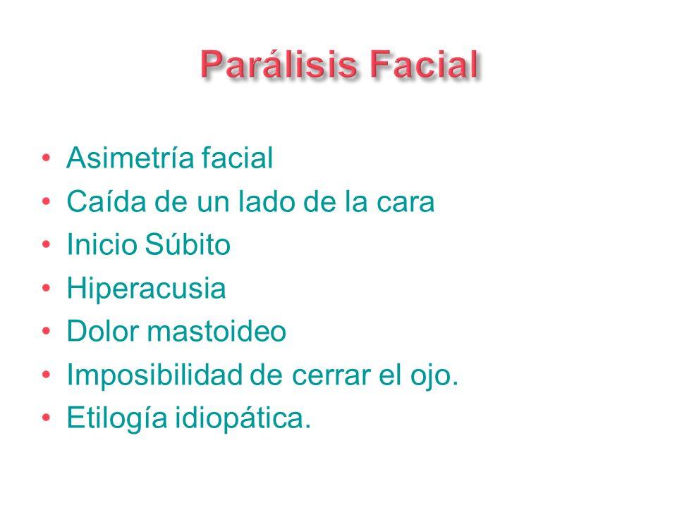 Asimetría facial Caída de un lado de la cara Inicio Súbito Hiperacusia Dolor mastoideo Imposibilidad de cerrar el ojo. Etilogía idiopática.