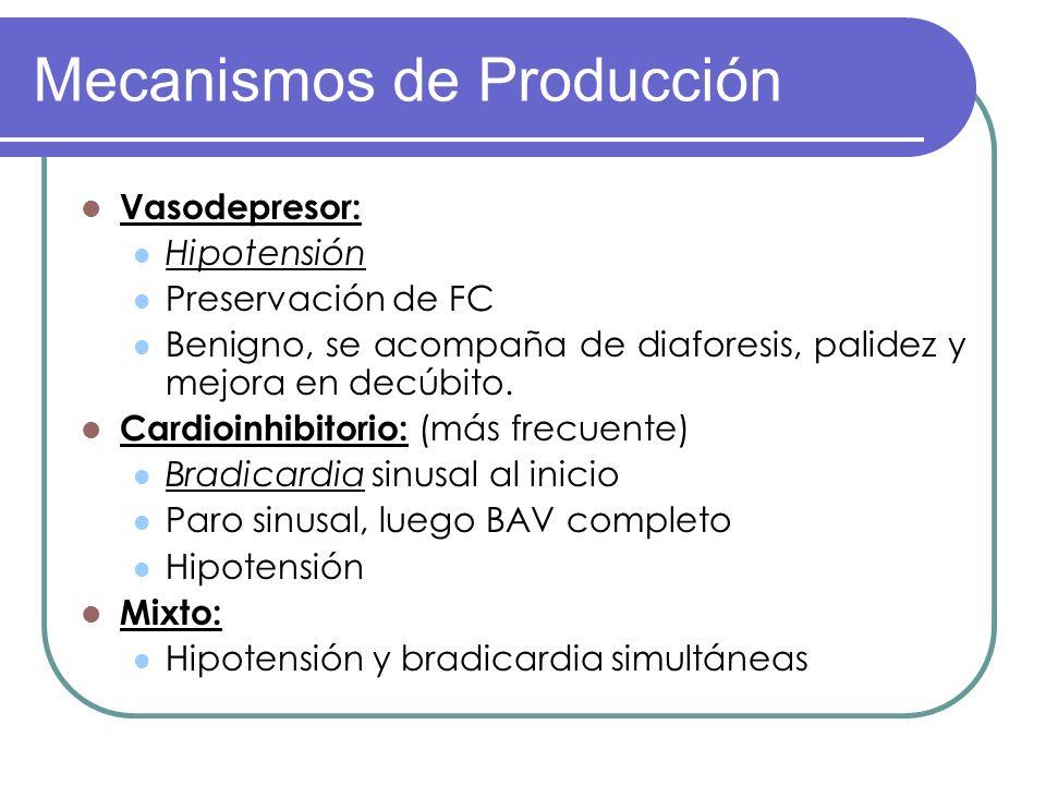 Mecanismos de Producción Vasodepresor: Hipotensión Preservación de FC Benigno, se acompaña de diaforesis, palidez y mejora en decúbito. Cardioinhibito