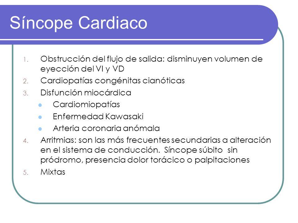 1. Obstrucción del flujo de salida: disminuyen volumen de eyección del VI y VD 2. Cardiopatías congénitas cianóticas 3. Disfunción miocárdica Cardiomi