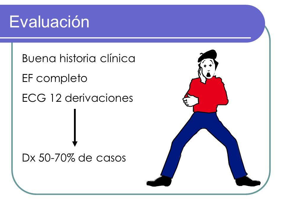 Evaluación Buena historia clínica EF completo ECG 12 derivaciones Dx 50-70% de casos