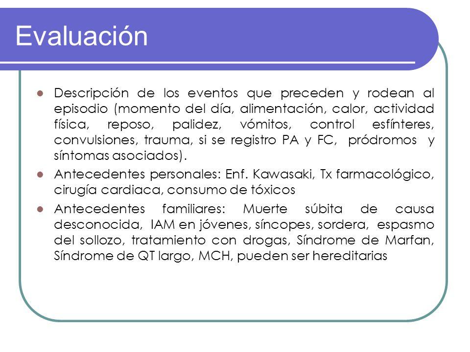 Evaluación Descripción de los eventos que preceden y rodean al episodio (momento del día, alimentación, calor, actividad física, reposo, palidez, vómi