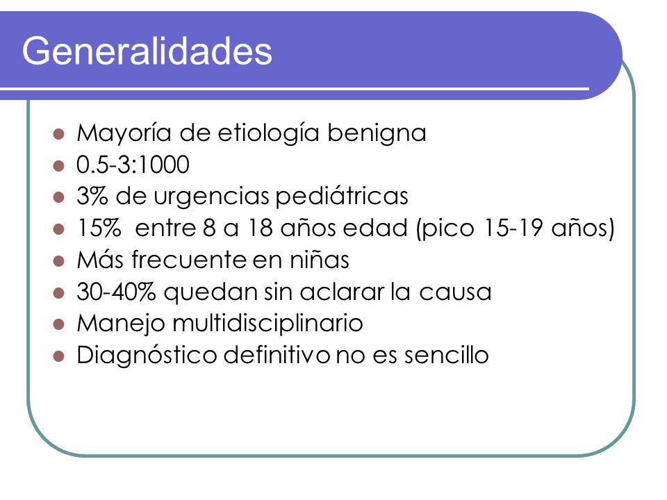 Generalidades Mayoría de etiología benigna 0.5-3:1000 3% de urgencias pediátricas 15% entre 8 a 18 años edad (pico 15-19 años) Más frecuente en niñas
