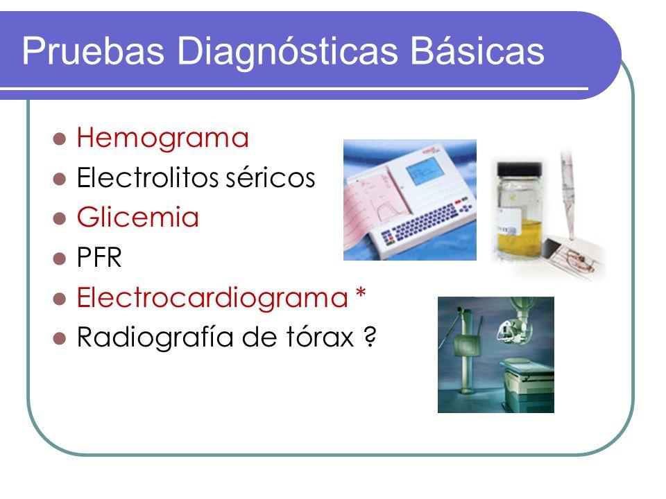 Pruebas Diagnósticas Básicas Hemograma Electrolitos séricos Glicemia PFR Electrocardiograma * Radiografía de tórax ?