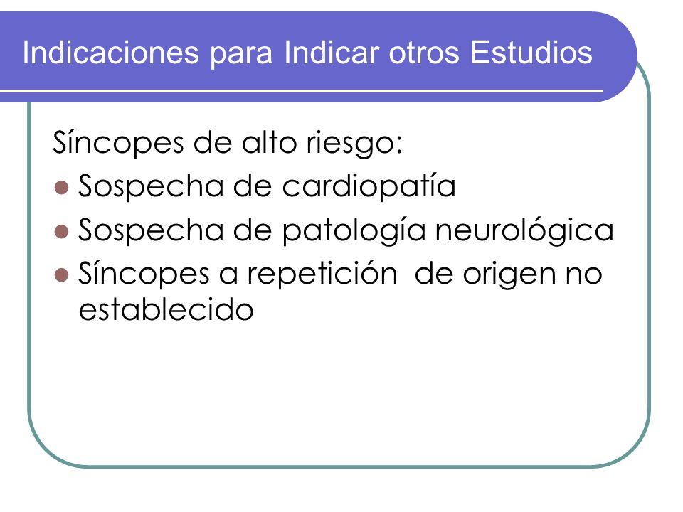 Síncopes de alto riesgo: Sospecha de cardiopatía Sospecha de patología neurológica Síncopes a repetición de origen no establecido Indicaciones para In