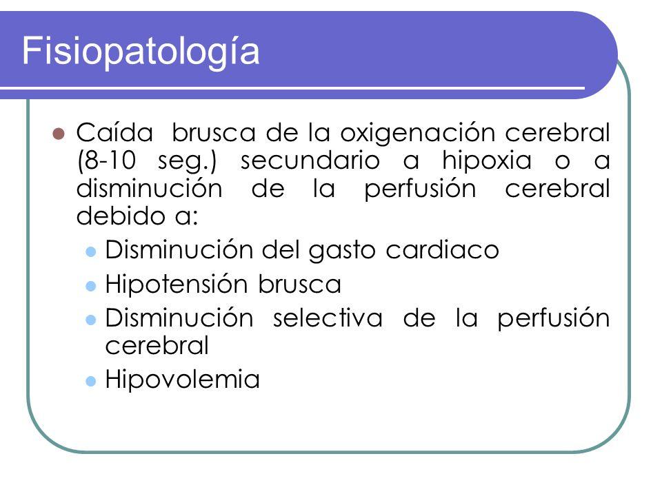 Fisiopatología Síncope ocurre por tres anormalidades hemodinámicas: Caída de PA por hipotensión ortostática Aumento de la RV cerebral Disminución del gasto cardiaco