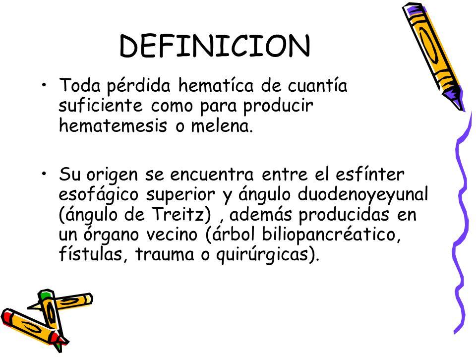 DEFINICION Toda pérdida hematíca de cuantía suficiente como para producir hematemesis o melena. Su origen se encuentra entre el esfínter esofágico sup