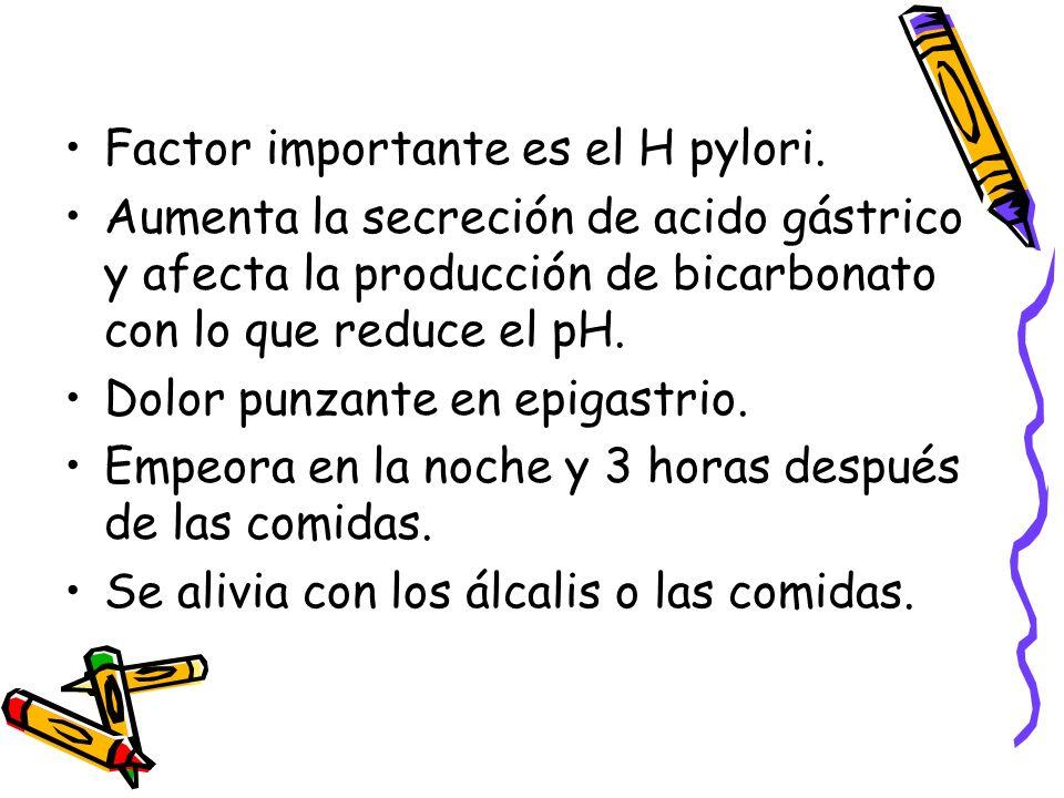 Factor importante es el H pylori. Aumenta la secreción de acido gástrico y afecta la producción de bicarbonato con lo que reduce el pH. Dolor punzante