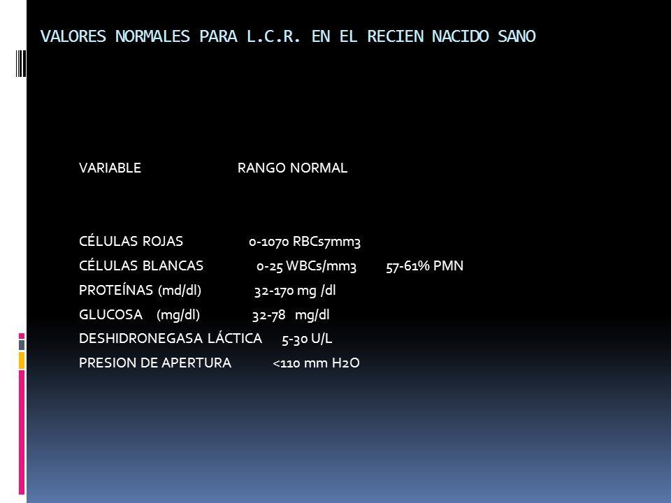 VALORES NORMALES PARA L.C.R. EN EL RECIEN NACIDO SANO VARIABLE RANGO NORMAL CÉLULAS ROJAS 0-1070 RBCs7mm3 CÉLULAS BLANCAS 0-25 WBCs/mm3 57-61% PMN PRO