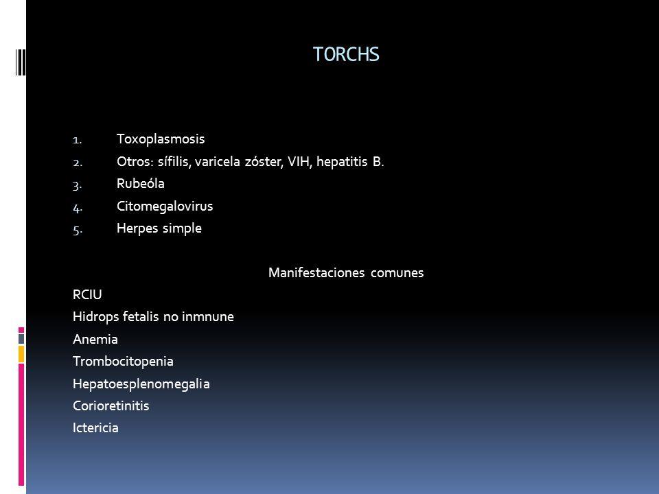 TORCHS 1. Toxoplasmosis 2. Otros: sífilis, varicela zóster, VIH, hepatitis B. 3. Rubeóla 4. Citomegalovirus 5. Herpes simple Manifestaciones comunes R