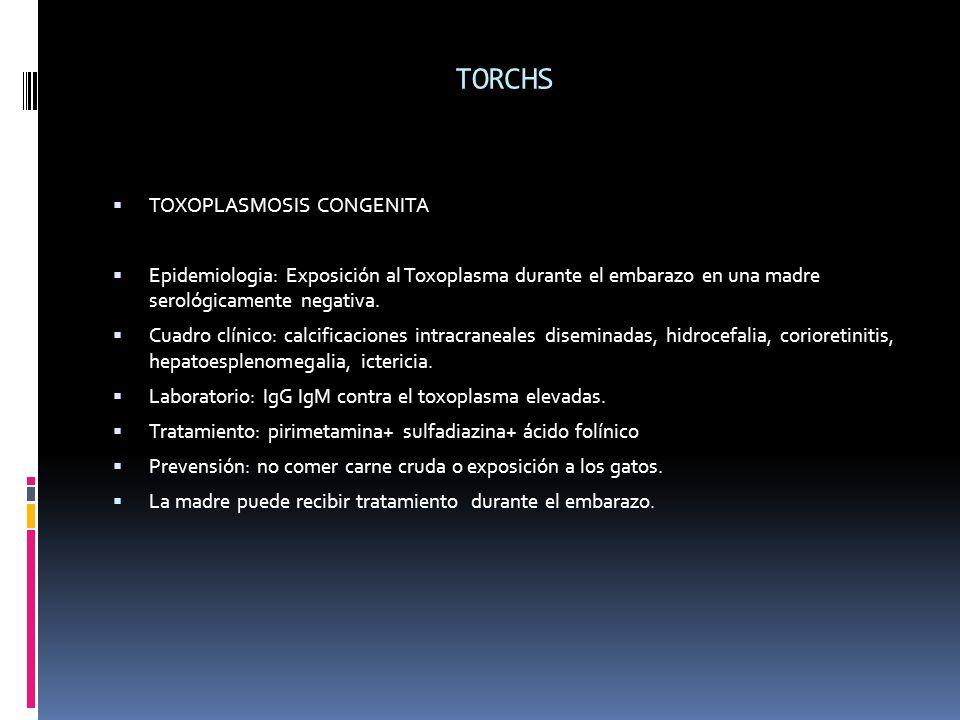 TORCHS TOXOPLASMOSIS CONGENITA Epidemiologia: Exposición al Toxoplasma durante el embarazo en una madre serológicamente negativa. Cuadro clínico: calc
