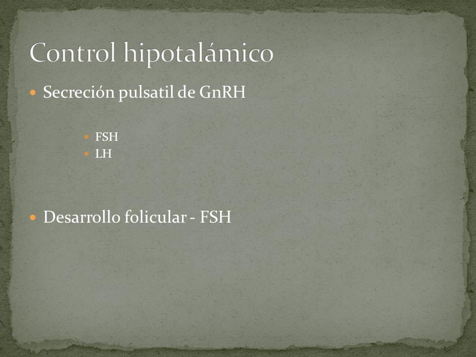 Secreción pulsatil de GnRH FSH LH Desarrollo folicular - FSH