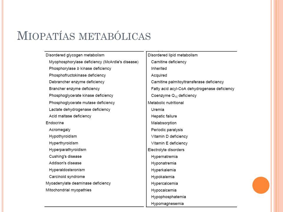 M IOPATÍAS METABÓLICAS