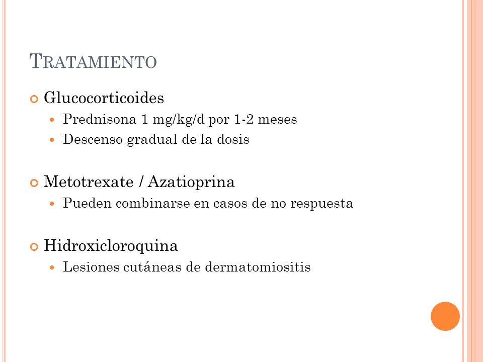 T RATAMIENTO Glucocorticoides Prednisona 1 mg/kg/d por 1-2 meses Descenso gradual de la dosis Metotrexate / Azatioprina Pueden combinarse en casos de