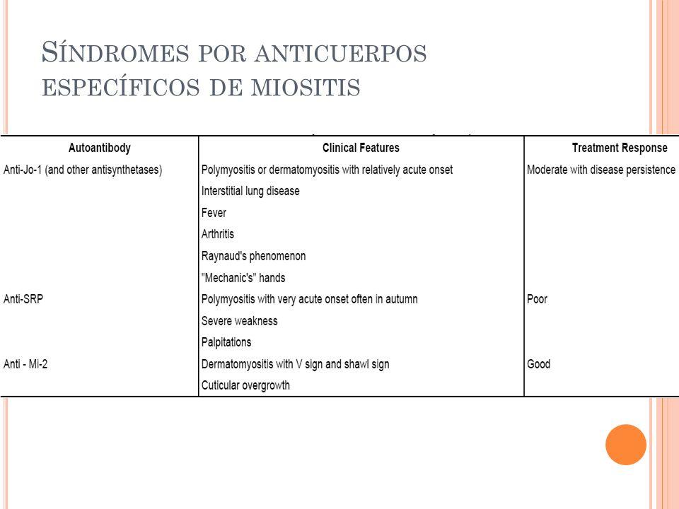 S ÍNDROMES POR ANTICUERPOS ESPECÍFICOS DE MIOSITIS