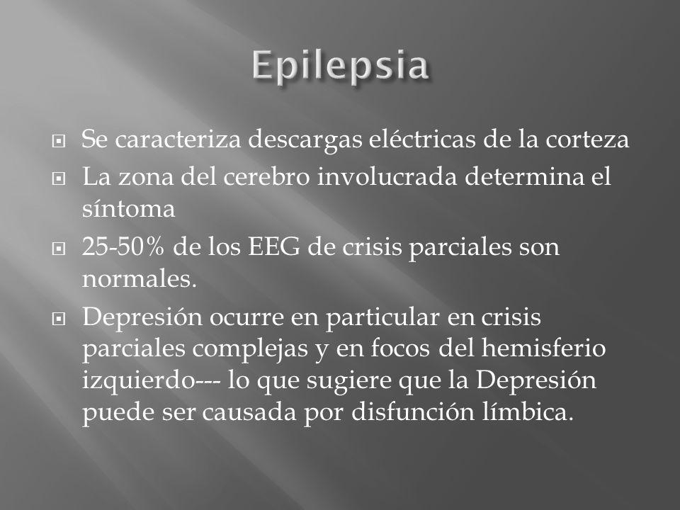 Se caracteriza descargas eléctricas de la corteza La zona del cerebro involucrada determina el síntoma 25-50% de los EEG de crisis parciales son norma