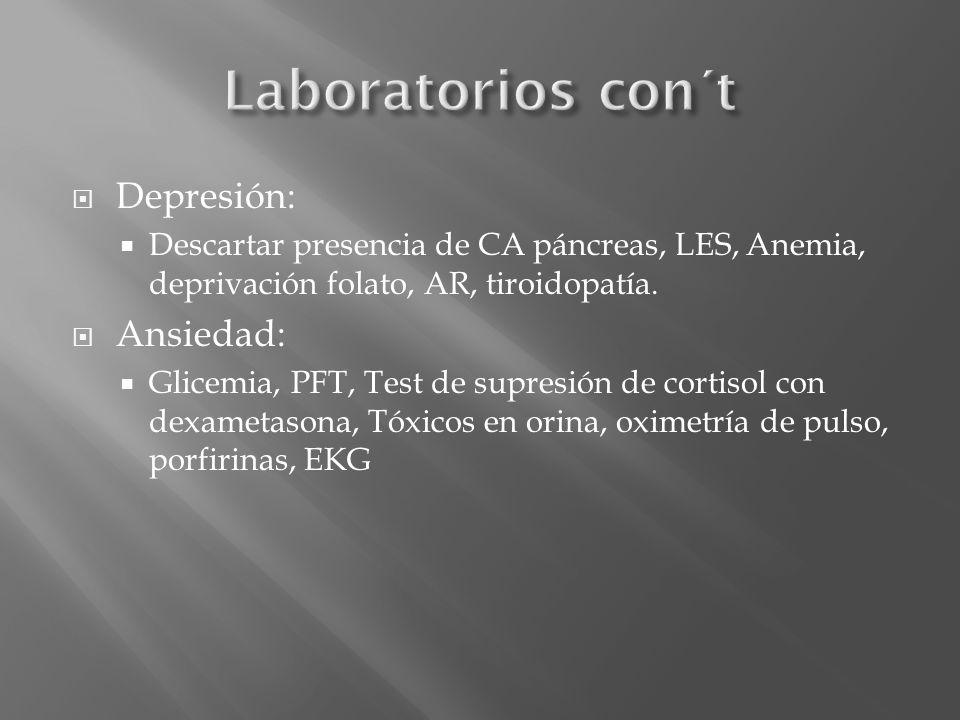 Depresión: Descartar presencia de CA páncreas, LES, Anemia, deprivación folato, AR, tiroidopatía. Ansiedad: Glicemia, PFT, Test de supresión de cortis