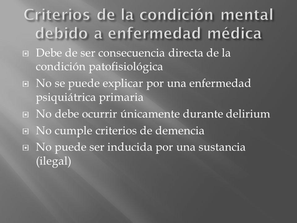 Debe de ser consecuencia directa de la condición patofisiológica No se puede explicar por una enfermedad psiquiátrica primaria No debe ocurrir únicame