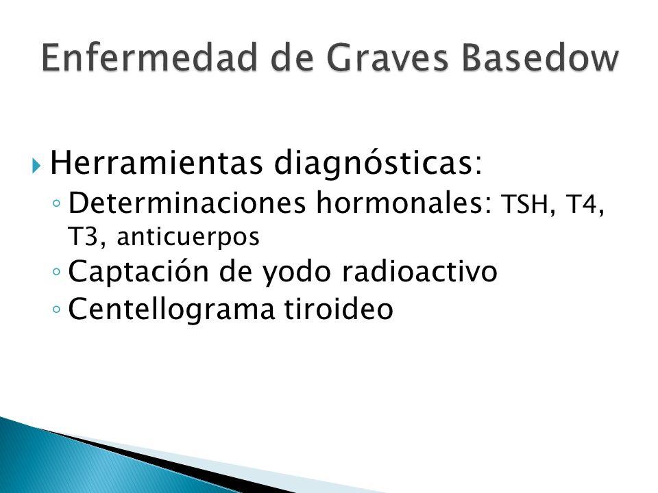 Herramientas diagnósticas: Determinaciones hormonales: TSH, T4, T3, anticuerpos Captación de yodo radioactivo Centellograma tiroideo