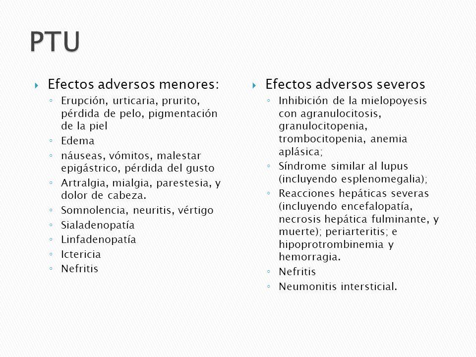 Efectos adversos menores: Erupción, urticaria, prurito, pérdida de pelo, pigmentación de la piel Edema náuseas, vómitos, malestar epigástrico, pérdida
