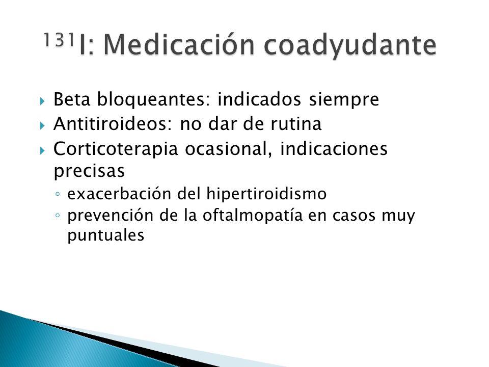 Beta bloqueantes: indicados siempre Antitiroideos: no dar de rutina Corticoterapia ocasional, indicaciones precisas exacerbación del hipertiroidismo p