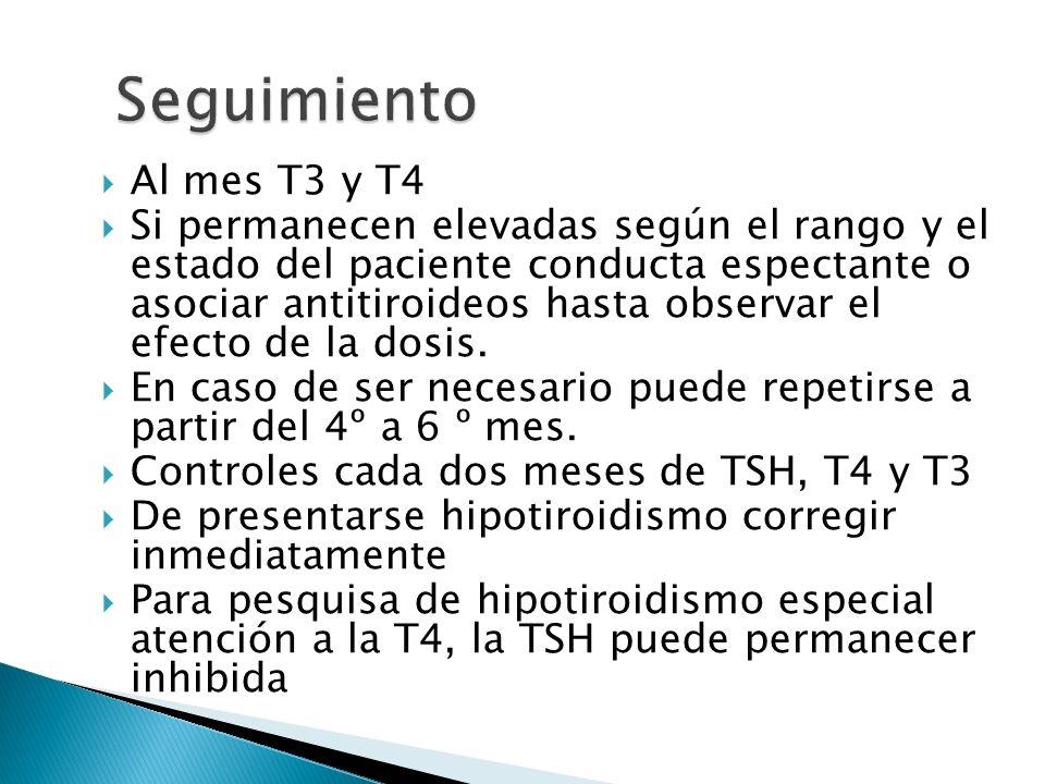 Al mes T3 y T4 Si permanecen elevadas según el rango y el estado del paciente conducta espectante o asociar antitiroideos hasta observar el efecto de