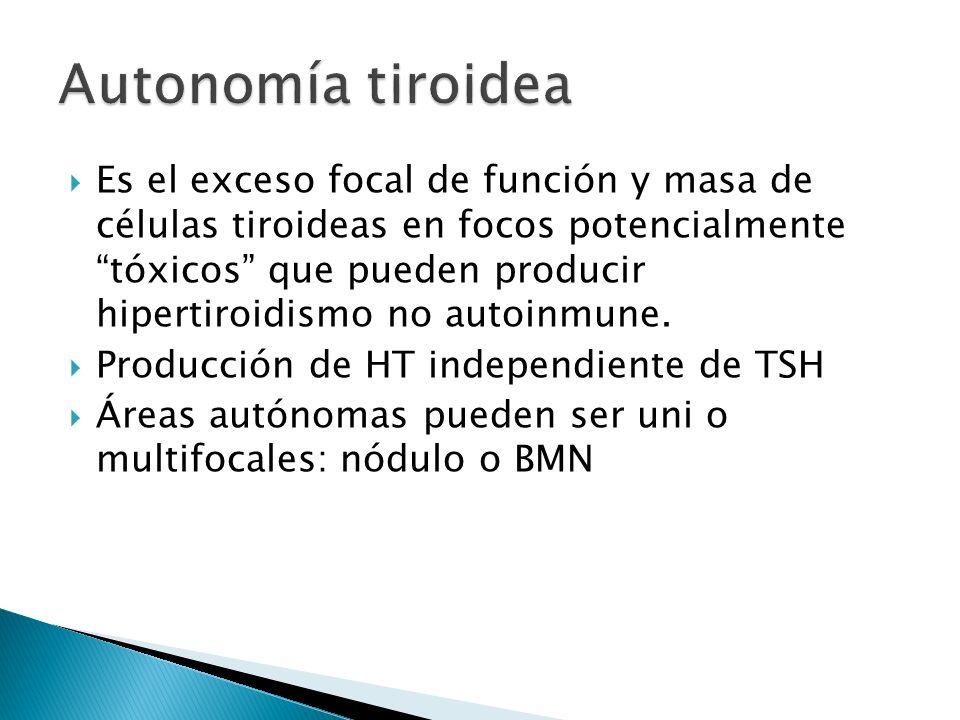 Es el exceso focal de función y masa de células tiroideas en focos potencialmente tóxicos que pueden producir hipertiroidismo no autoinmune. Producció