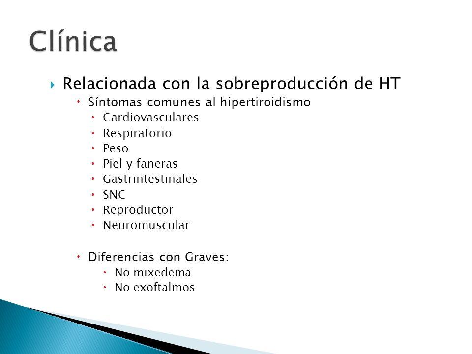Relacionada con la sobreproducción de HT Síntomas comunes al hipertiroidismo Cardiovasculares Respiratorio Peso Piel y faneras Gastrintestinales SNC R