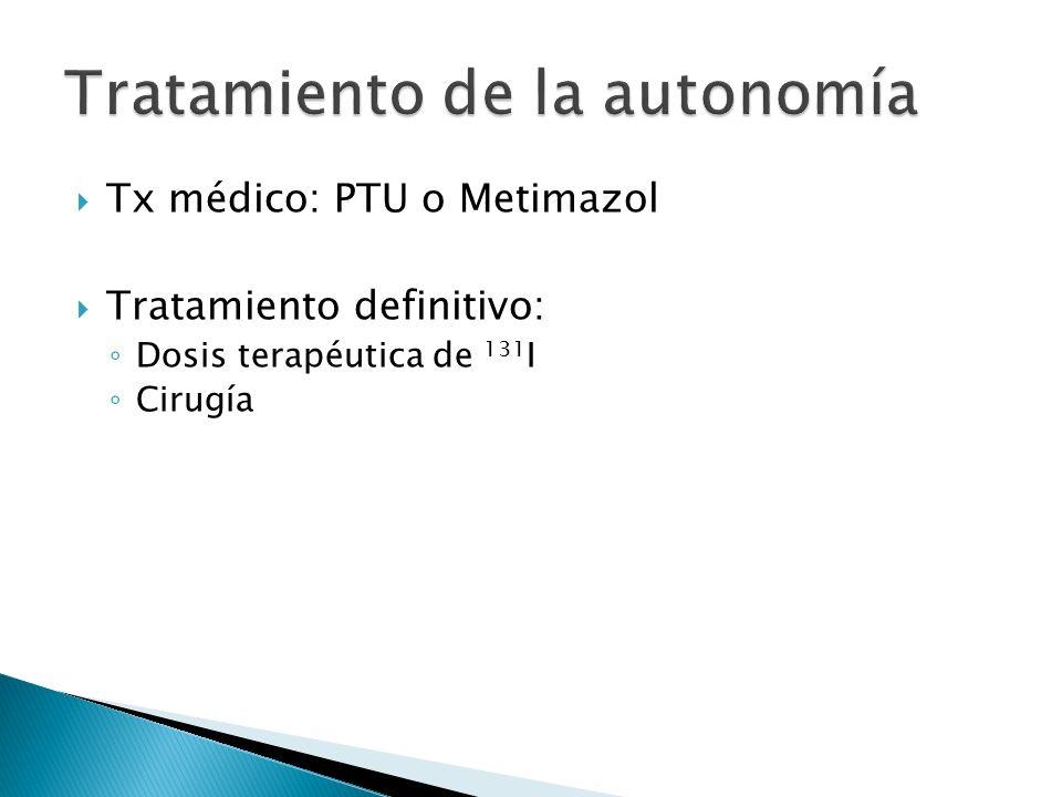 Tx médico: PTU o Metimazol Tratamiento definitivo: Dosis terapéutica de 131 I Cirugía