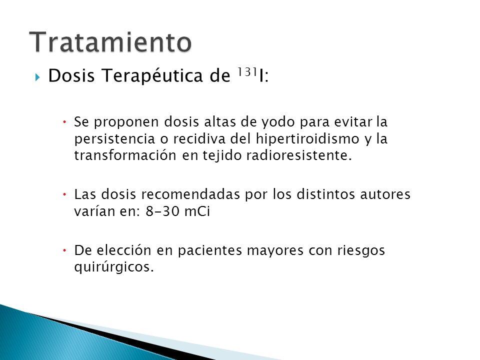 Dosis Terapéutica de 131 I: Se proponen dosis altas de yodo para evitar la persistencia o recidiva del hipertiroidismo y la transformación en tejido r