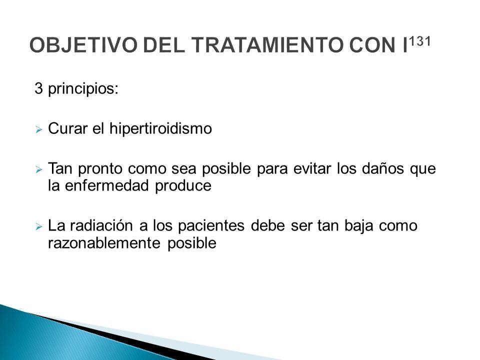 3 principios: Curar el hipertiroidismo Tan pronto como sea posible para evitar los daños que la enfermedad produce La radiación a los pacientes debe s