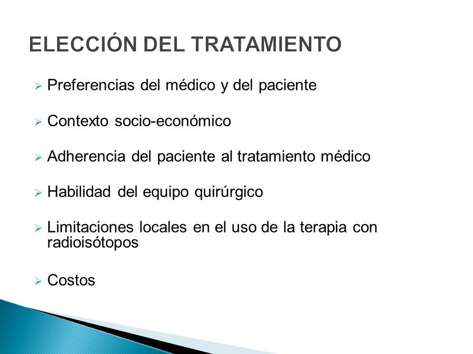 Preferencias del médico y del paciente Contexto socio-económico Adherencia del paciente al tratamiento médico Habilidad del equipo quirúrgico Limitaci