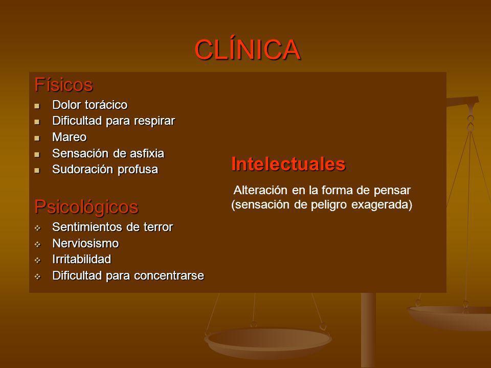 CLÍNICAFísicos Dolor torácico Dolor torácico Dificultad para respirar Dificultad para respirar Mareo Mareo Sensación de asfixia Sensación de asfixia S