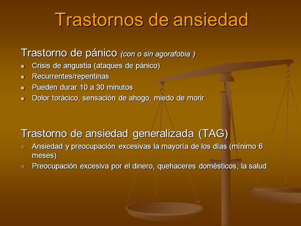 Trastornos de ansiedad Trastorno de pánico (con o sin agorafobia ) Crisis de angustia (ataques de pánico) Crisis de angustia (ataques de pánico) Recur