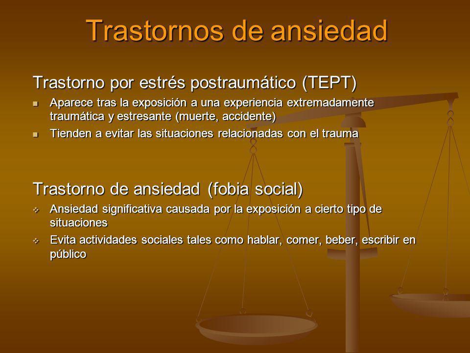Trastornos de ansiedad Trastorno por estrés postraumático (TEPT) Aparece tras la exposición a una experiencia extremadamente traumática y estresante (