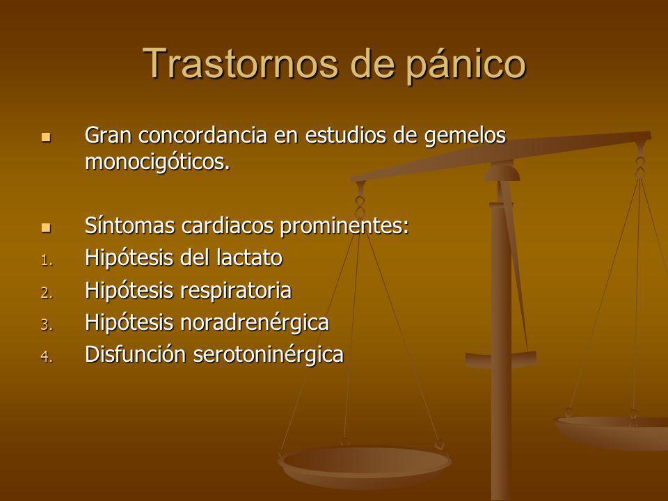 Trastornos de pánico Gran concordancia en estudios de gemelos monocigóticos. Gran concordancia en estudios de gemelos monocigóticos. Síntomas cardiaco