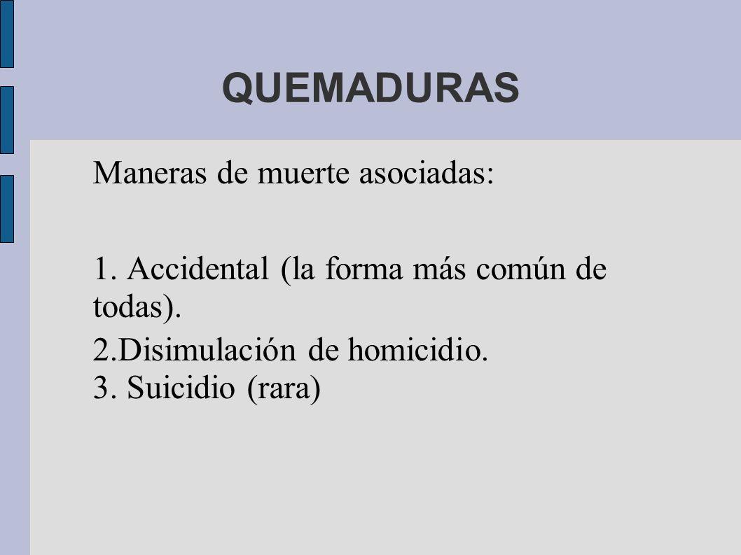 QUEMADURAS Maneras de muerte asociadas: 1. Accidental (la forma más común de todas). 2.Disimulación de homicidio. 3. Suicidio (rara)