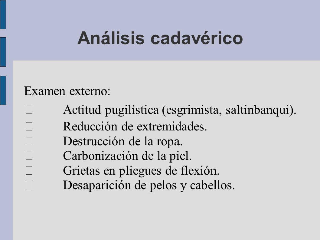 Análisis cadavérico Examen externo: Actitud pugilística (esgrimista, saltinbanqui). Reducción de extremidades. Destrucción de la ropa. Carbonización d