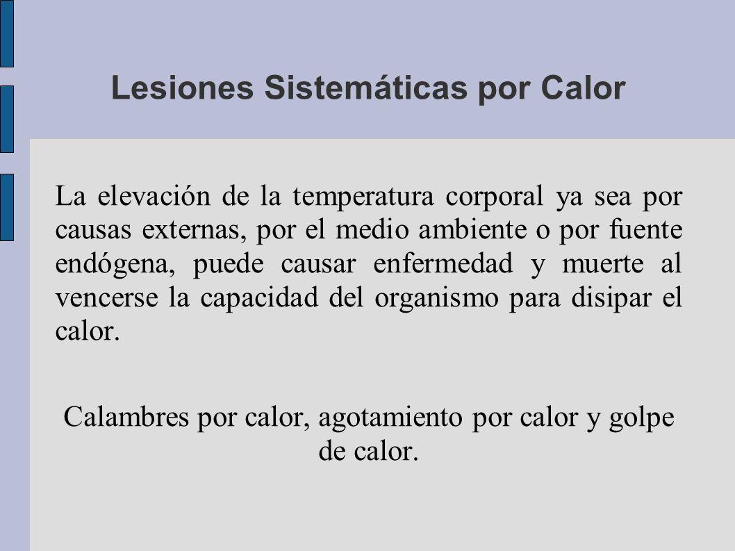 Lesiones Sistemáticas por Calor La elevación de la temperatura corporal ya sea por causas externas, por el medio ambiente o por fuente endógena, puede